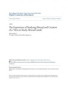 The Experience of Studying Abroad and Creation of a How to Study Abroad Guide