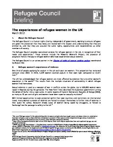 The experiences of refugee women in the UK March 2012
