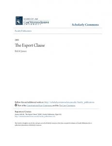 The Export Clause. Scholarly Commons. Erik M. Jensen. Faculty Publications