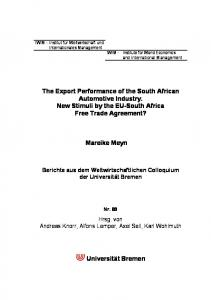 The Export Performance of the South African Automotive Industry. New Stimuli by the EU-South Africa Free Trade Agreement?