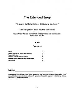 The Extended Essay. *** Contents