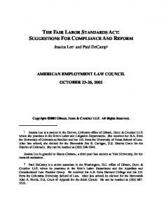 THE FAIR LABOR STANDARDS ACT: SUGGESTIONS FOR COMPLIANCE AND REFORM