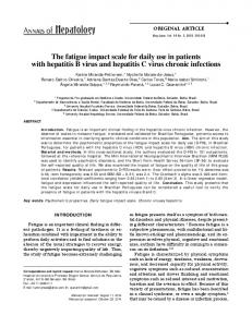 The fatigue impact scale for daily use in patients with hepatitis B virus and hepatitis C virus chronic infections