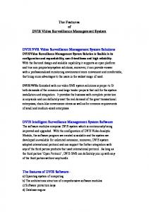 The Features of DVIS Video Surveillance Management System