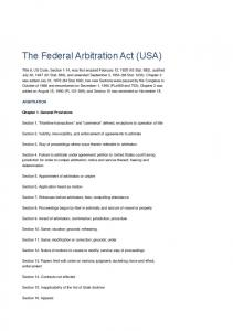 The Federal Arbitration Act (USA)