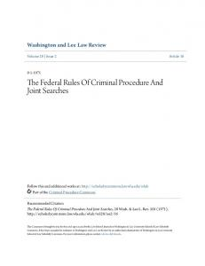 The Federal Rules Of Criminal Procedure And Joint Searches
