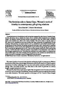 The feminine side to Santa Claus. Women s work of kinship in contemporary gift-giving relations