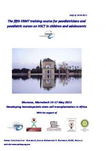 The fifth EBMT training course for paediatricians and paediatric nurses on HSCT in children and adolescents