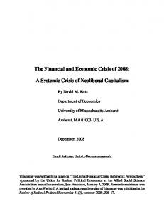 The Financial and Economic Crisis of 2008: A Systemic Crisis of Neoliberal Capitalism