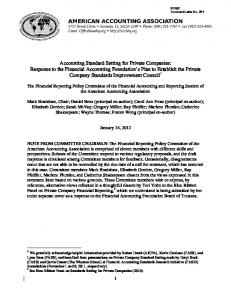 The Financial Reporting Policy Committee of the Financial Accounting and Reporting Section of the American Accounting Association
