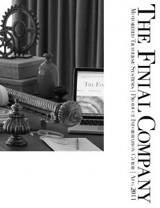 THE FINIAL COMPANY. Motorized Traverse Systems Product Information Guide Aug 2011
