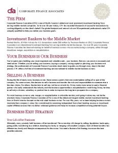 THE FIRM YOUR BUSINESS IS OUR BUSINESS SELLING A BUSINESS BUSINESS EXIT STRATEGY