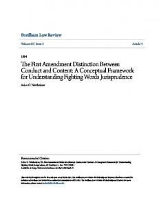 The First Amendment Distinction Between Conduct and Content: A Conceptual Framework for Understanding Fighting Words Jurisprudence