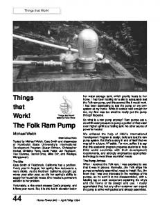 The Folk Ram Pump. Things that Work! Michael Welch. Things that Work!