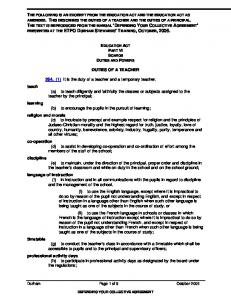 THE FOLLOWING IS AN EXCERPT FROM THE EDUCATION ACT AND THE EDUCATION ACT AS