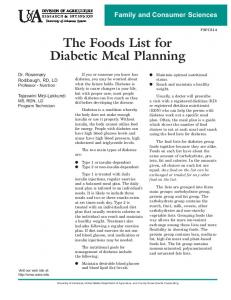 The Foods List for Diabetic Meal Planning