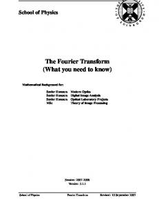 The Fourier Transform (What you need to know)
