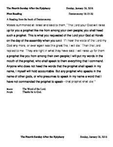 The Fourth Sunday After the Epiphany Sunday, January 28, First Reading Deuteronomy 18:15-20