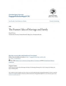 The Framers' Idea of Marriage and Family