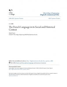 The French Language in its Social and Historical Context