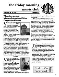 the friday morning music club 125th Season Vol. 46, No. 3 December 2011