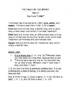 THE FRUIT OF THE SPIRIT Part 2 The Fruit LOVE