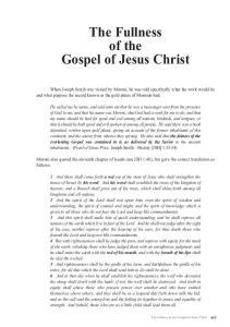 The Fullness of the Gospel of Jesus Christ