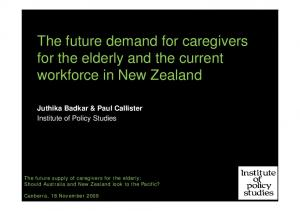 The future demand for caregivers for the elderly and the current workforce in New Zealand