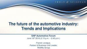 The future of the automotive industry: Trends and Implications
