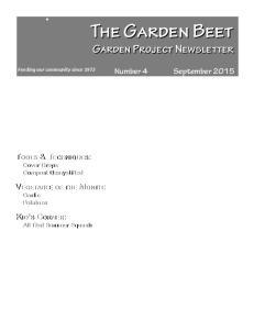 The Garden Beet Garden Project Newsletter
