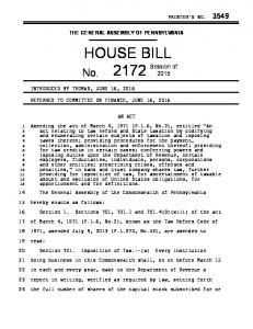THE GENERAL ASSEMBLY OF PENNSYLVANIA HOUSE BILL AN ACT