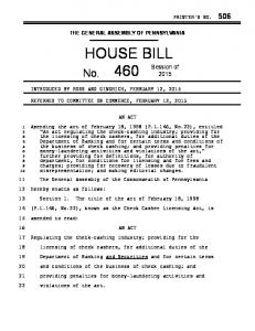 THE GENERAL ASSEMBLY OF PENNSYLVANIA HOUSE BILL REFERRED TO COMMITTEE ON COMMERCE, FEBRUARY 12, 2015 AN ACT