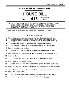 THE GENERAL ASSEMBLY OF PENNSYLVANIA HOUSE BILL