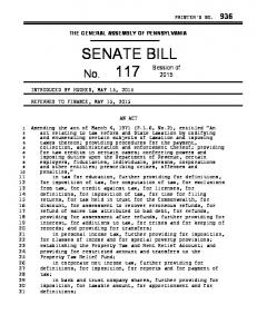 THE GENERAL ASSEMBLY OF PENNSYLVANIA SENATE BILL AN ACT