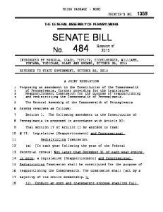 THE GENERAL ASSEMBLY OF PENNSYLVANIA SENATE BILL