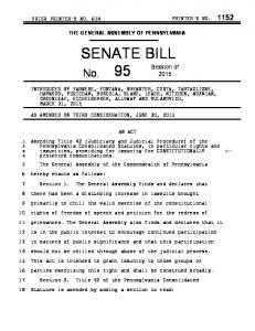 THE GENERAL ASSEMBLY OF PENNSYLVANIA SENATE BILL