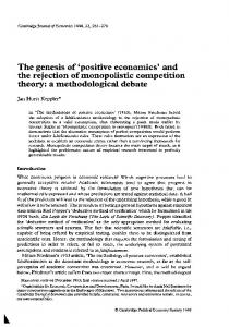 The genesis of 'positive economics' and the rejection of monopolistic competition theory: a methodological debate