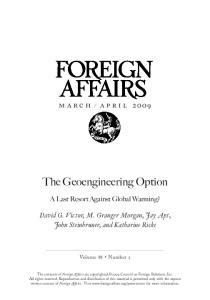 The Geoengineering Option