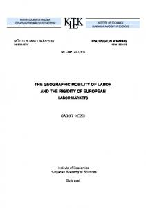 THE GEOGRAPHIC MOBILITY OF LABOR AND THE RIGIDITY OF EUROPEAN