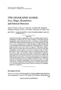 THE GEOGRAPHIC RANGE: Size, Shape, Boundaries, and Internal Structure