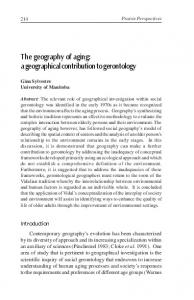 The geography of aging: a geographical contribution to gerontology
