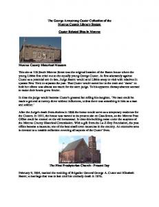 The George Armstrong Custer Collection of the Monroe County Library System. Custer Related Sites in Monroe