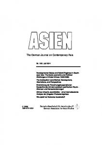 The German Journal on Contemporary Asia