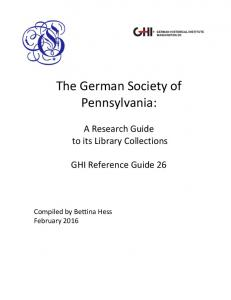 The German Society of Pennsylvania: