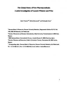 The Global Entry of New Pharmaceuticals: A Joint Investigation of Launch Window and Price