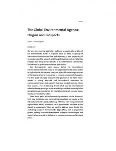 The Global Environmental Agenda: Origins and Prospects