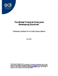 The Global Financial Crisis and Developing Countries 1