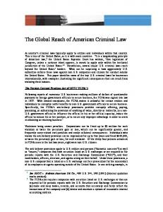 The Global Reach of American Criminal Law