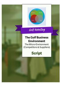 THE GOLF BUSINESS ENVIRONMENT