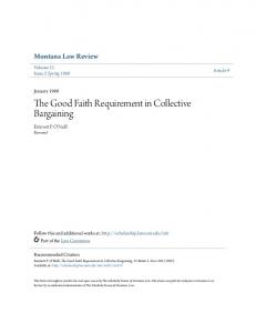 The Good Faith Requirement in Collective Bargaining